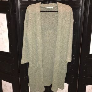 Cozy Sage Green Duster Cardigan with Pockets